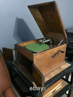 1913 Victrola VIII Antique Record Player with Collection of 50 Records