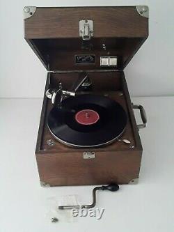 1924 Victor Victrola Vv-50 Portable Hand Crank Phonograph Record Player Oak Case