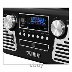 50's Retro Bluetooth Record Player 3 Speed Turntable Multimedia Center Black New