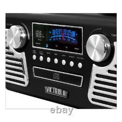 50s Retro Record Player Stereo Bluetooth USB Turntable CD AM/FM Radio Black NEW