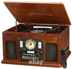 7-in-1 Bluetooth Record Player with USB Recording and Remote Control, Mahogany
