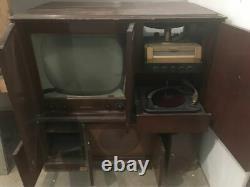 Antique 1950 RCA TV TUBE AMP RADIO Console DUAL Record Player MCM CRT VICTROLA 7