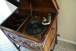 Antique Apollo Wood Phonograph Victrola Cabinet Record Player Free Stand 33