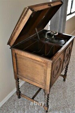 Antique Apollo Wooden Phonograph Victrola Cabinet Record Player Free Stand 33