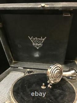 Antique Rca Victrola Portable Suitcase Phonograph Record Player Crank Wind Up