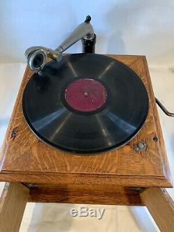 Antique Victor Victrola VV-VI Phonograph Record Player Wood Talking WORKS! A696