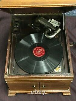 Antique Victrola Mahogany Tabletop Phonograph Record Player withLid Working VV-IX