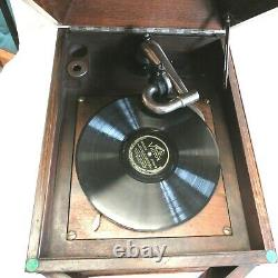 Antique Working Columbia Wind Up Victrola Phonograph Record Player