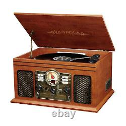 Bluetooth Record Player with 3 Speed Turntable CD Cassette FM Radio Mahogany NEW