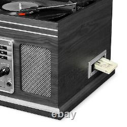 Bluetooth Record Player with Speakers 3 Speed Turntable AM FM CD Cassette 6-in-1