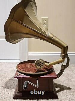 His Masters Voice Gramaphone Wind-Up Victrola Phonograph Record Player with Horn