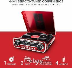 Mustang LP4-in-1 Vinyl Record Player/Turntable Phonograph withBuilt In Speakers
