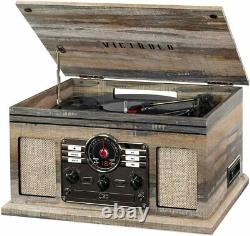 New Bluetooth 3-Speed Record Player Turntable CD Cassette Player FM Radio AUX-IN