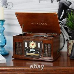 New Bluetooth 3-Speed Record Player Turntable CD Cassette Player FM USB AUX-IN