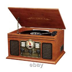 Nostalgic Classic 6-In-1 Record Player Turntable with Bluetooth, Mahogany, New