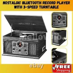 Nostalgic Record Player 6 In 1 Bluetooth Entertainment Center 3 Speed Turnable