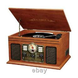 Portable 6 In 1 Nostalgic Bluetooth Record Player CD Cassette Wood With Speakers