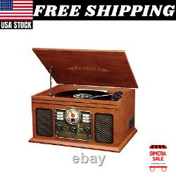 Record Player 6-in-1 Bluetooth 3-Speed Turntable CD Cassette FM Radio Vintage