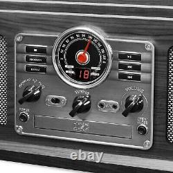 Record Player 6-in-1 Bluetooth Nostalgic 3-Speed Turntable CD Cassette FM Radio