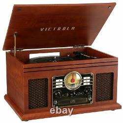 Record Player 6-in-1 Nostalgic Bluetooth 3-Speed Turntable CD Cassette FM Radio