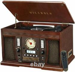 Record Player Bluetooth 3-Speed Turntable 8-in-1 With Stereo Speakers Espresso
