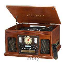 Record Player W Speaker 8-in-1 Nostalgic Bluetooth 3-Speed CD Cassette vinyl FM