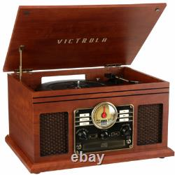 Record Player W Speakers 6 in 1 Nostalgic Bluetooth 3 Speed CD Cassette FM RadiO
