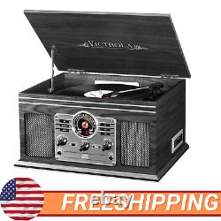 Record Player W Speakers 6in1 Nostalgic 3 Speed Bluetooth CD Cassette FM Radio