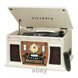 Record Player W Speakers Nostalgic 3 Speed Bluetooth CD Cassette FM Radio 8 in 1