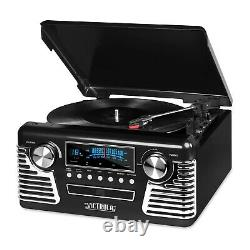Retro Record Player with Bluetooth 3-speed Turntable Vintage Classic CD Black