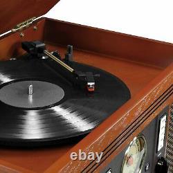 Retro Stereo 8in1 CD Record Player Cassette Radio Bluetooth Remote USB Record RC