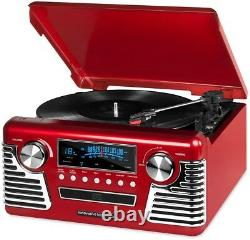 Retro Victrola Turntable Record Player 3 Speed Red Stereo CD Player Bluetooth