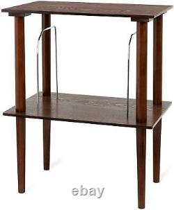 Small Retro Wooden Turntable Stand Table Record Player Vinyl Dividers LP Storage