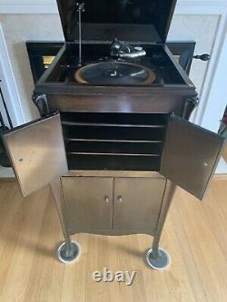 VV-80 Victor Victrola Antique Phonograph Cabinet Record Player- Works -refurbed