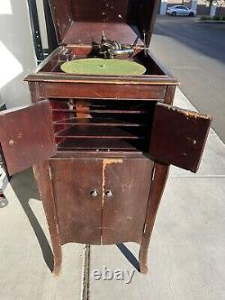 Victor Victrola VV-X 1920s Antique Phonograph Cabinet Record Player-Read