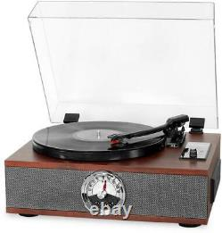 Victrola 5-in-1 Wood Bluetooth Record Player with 3-Speed Turntable CD Radio