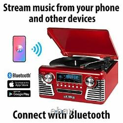 Victrola 50's Retro Bluetooth Record Player & Multimedia Center with Built-in