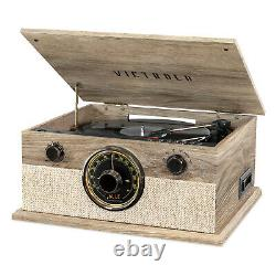 Victrola 6-in-1 Bluetooth Record Player with 3-Speed Turntable CD Cassette Radio