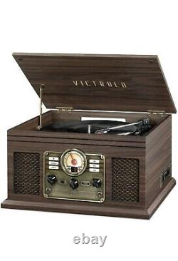 Victrola 6-in-1 Nostalgic Bluetooth Record Player Entertainment Center Mahongony