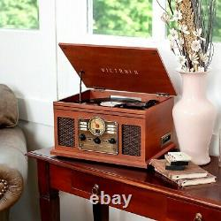 Victrola 6-in-1 Nostalgic Bluetooth Record Player with CD, Cassette and Radio