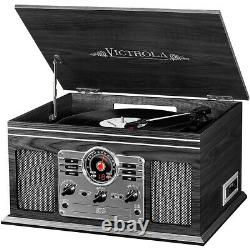 Victrola 6-in-1 Nostalgic Bluetooth Record Player withCD/Cassette/Radio Graphite