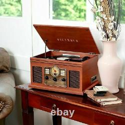 Victrola 6-in-1 Nostalgic Bluetooth Record Player withCD/Cassette/Radio Mahogany