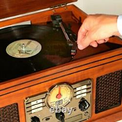 Victrola 6 in 1 Record Player Nostalgic Bluetooth 3-Speed Turntable CD Cassette