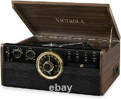 Victrola 6-in-1 Wood Bluetooth Mid Century Record Player Bluetooth CD/Cassette