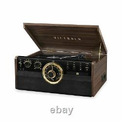 Victrola 6-in-1 Wood Bluetooth Mid Century Record Player with 3-Speed Turntab