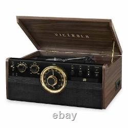 Victrola 6-in-1 Wood Empire Bluetooth Turntable with CD, Cassette Player & Radio