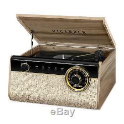 Victrola 6-in-1 Wood Empire Mid Century Modern Record Player Farmhouse Walnut