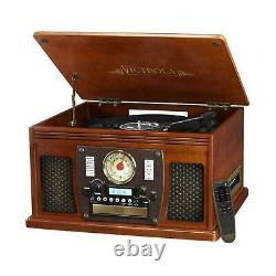 Victrola 7-in-1 Bluetooth Record Player USB Recording Modern Technology Mahogany