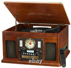 Victrola 7-in-1 Bluetooth Record Player USB Recording in Mahogany AM/FM Radio