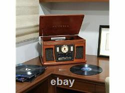 Victrola 7-in-1 Sherwood Bluetooth Recordable Record Player CD Cassette Mahogany